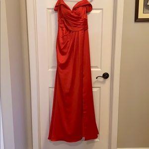Bright red JJs house prom dress